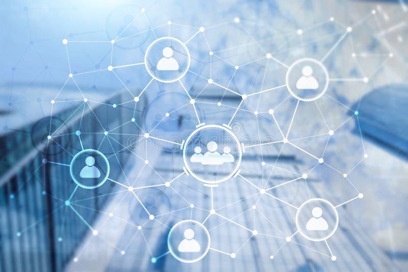 人联系和组织结构 束起通信有概念的交谈媒体人社交 事务和通讯技术概念 库存例证