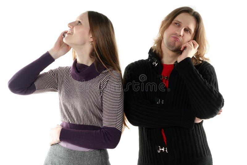 人联系的妇女年轻人 免版税图库摄影