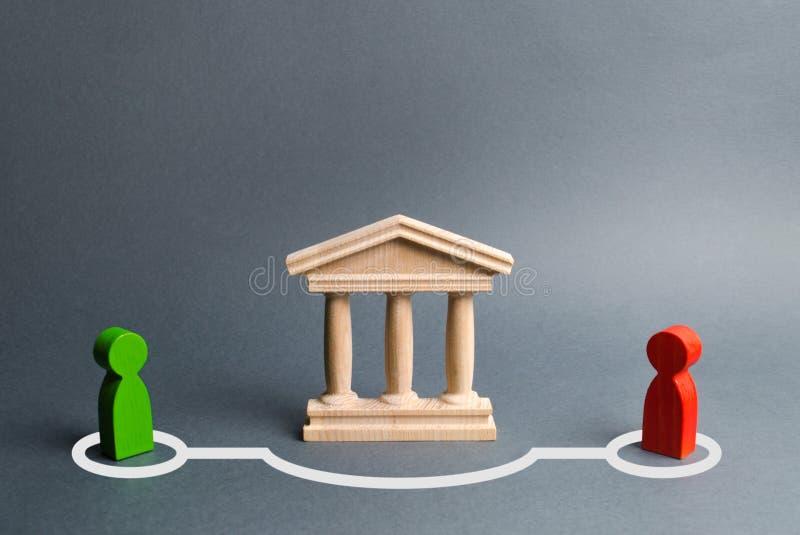 人联络两个图在绕过状态修造或银行的 直接交涉和协议绕过 免版税库存图片