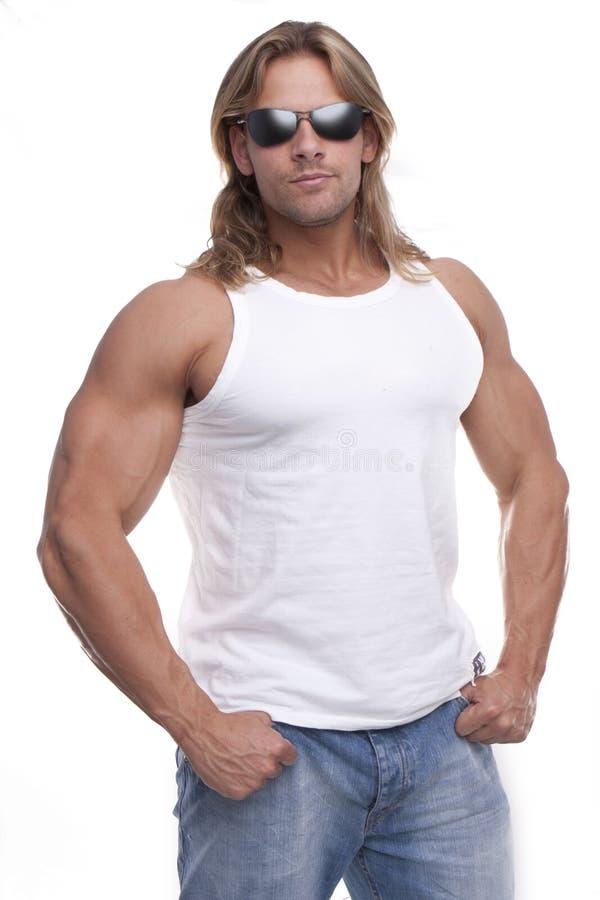 人肌肉太阳镜 免版税库存图片