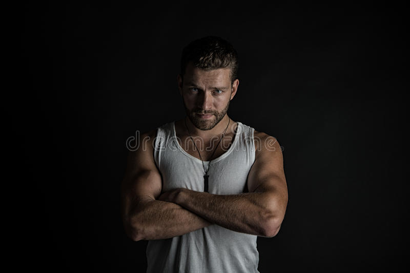 人肌肉性感的年轻人 库存图片