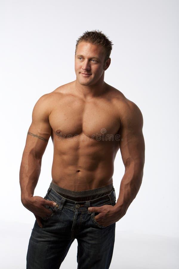 人肌肉白色 库存照片