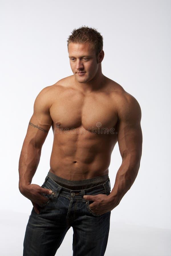 人肌肉白色 免版税图库摄影