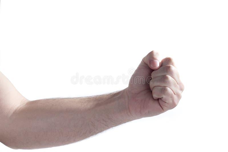 人胳膊和拳头,隔绝在白色背景 库存照片