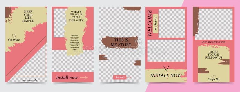 人脉故事的,instagram故事,传染媒介例证时髦编辑可能的模板 社会媒介的设计背景 向量例证
