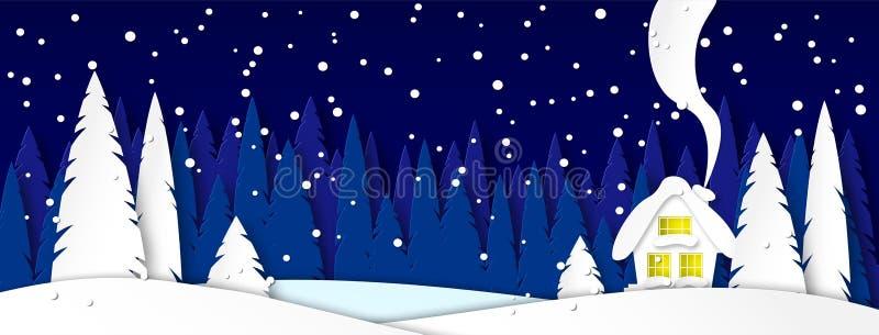 人脉盖帽的横幅 与房子的冬天风景在被月光照亮夜 在公园或森林设计的斯诺伊树 库存例证