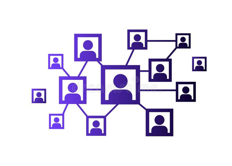 人脉象、人网络和队例证 向量 皇族释放例证