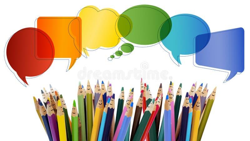 人脉通信 人微笑的色的铅笔滑稽的面孔 ?? r 对话小组p 免版税库存图片