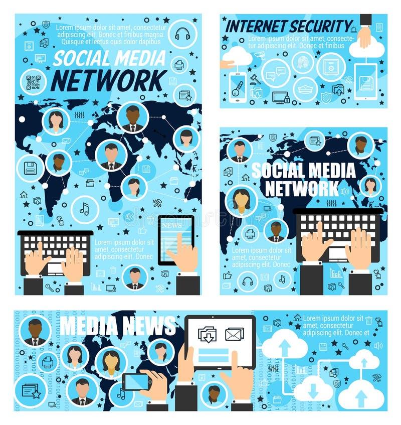 人脉,媒介新闻,互联网安全 库存例证