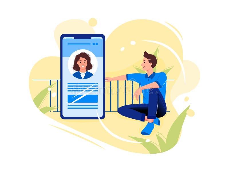 人脉,聊天,约会应用程序 年轻人在大智能手机附近坐并且与电话的妇女谈话 o 皇族释放例证