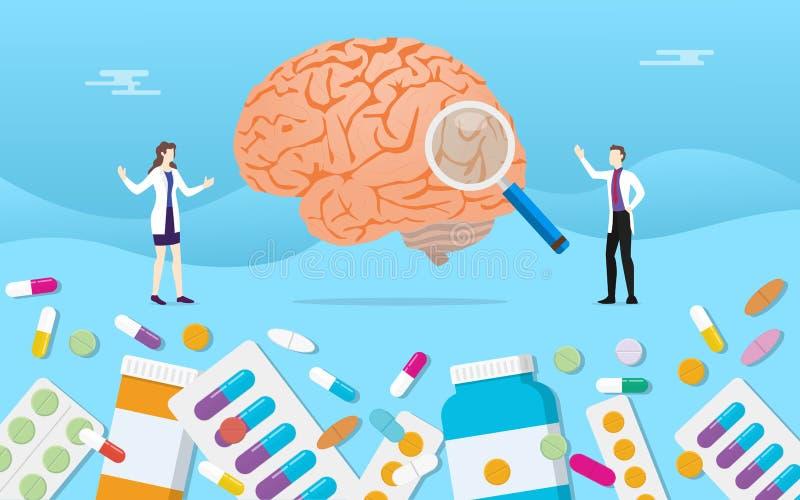 人脑医学健康药片使与医生分析的胶囊治疗服麻醉剂- 库存例证