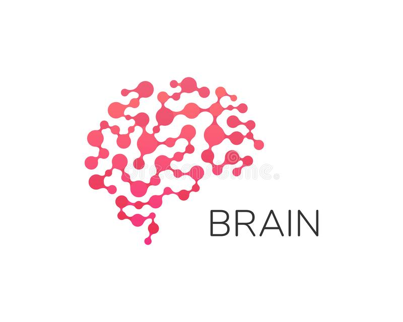 人脑商标 神经网络,记忆地图集,最小的设计传染媒介商标 r 皇族释放例证