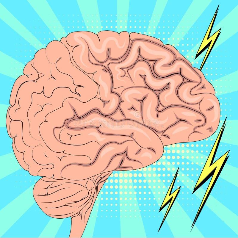 人脑有效地运作 E 漫画样式光栅的模仿 皇族释放例证