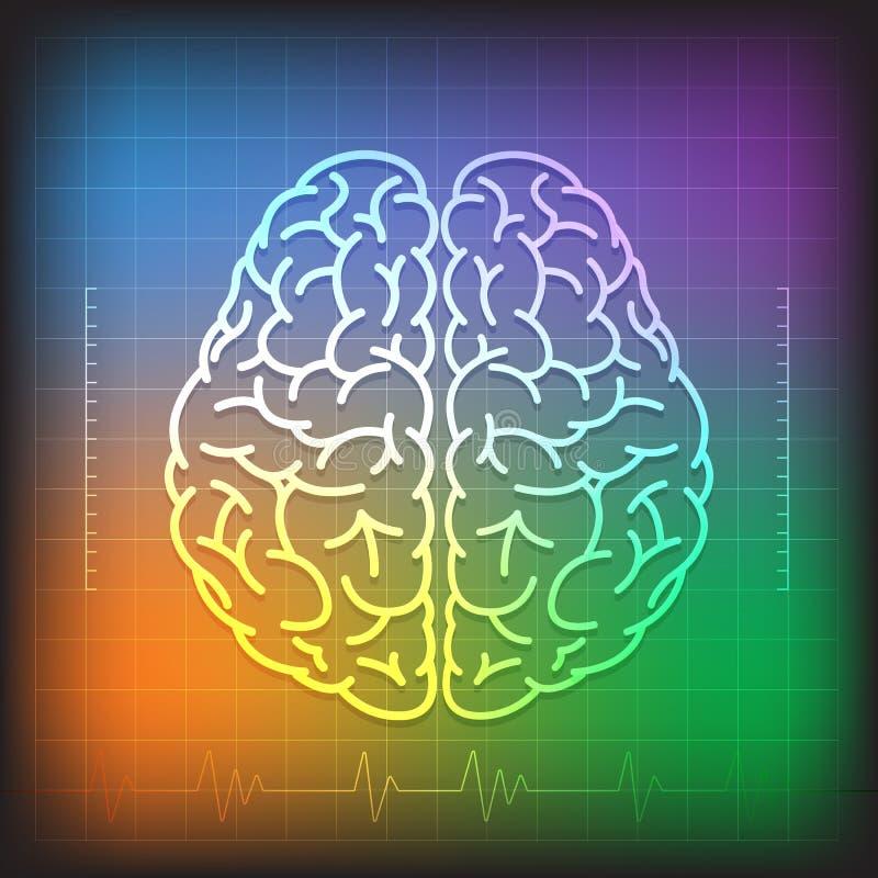 人脑概念有波浪图五颜六色的背景 库存例证