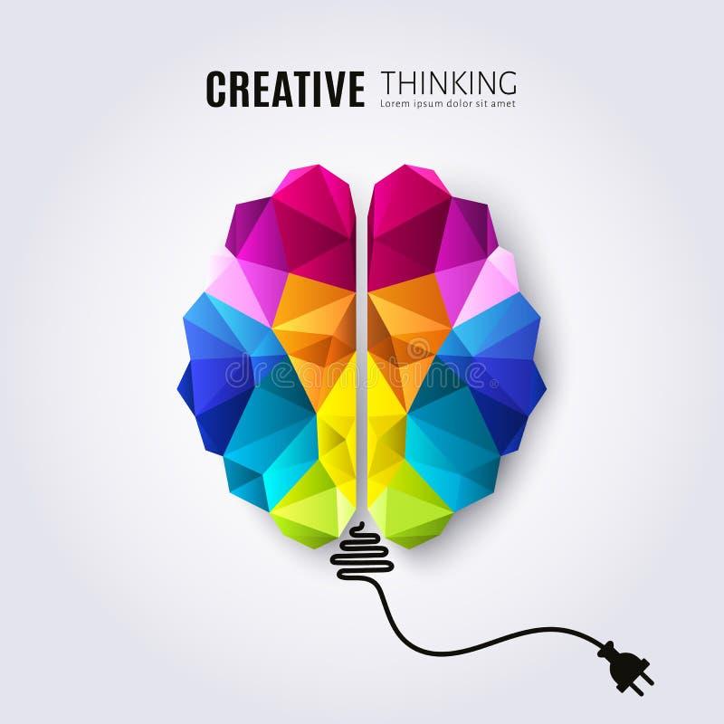 人脑的创造性的概念与被连接的电导线的 向量例证