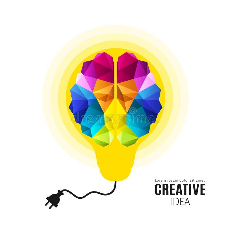 人脑的创造性的概念在电灯泡里面的有电导线的 多角形样式 向量 向量例证