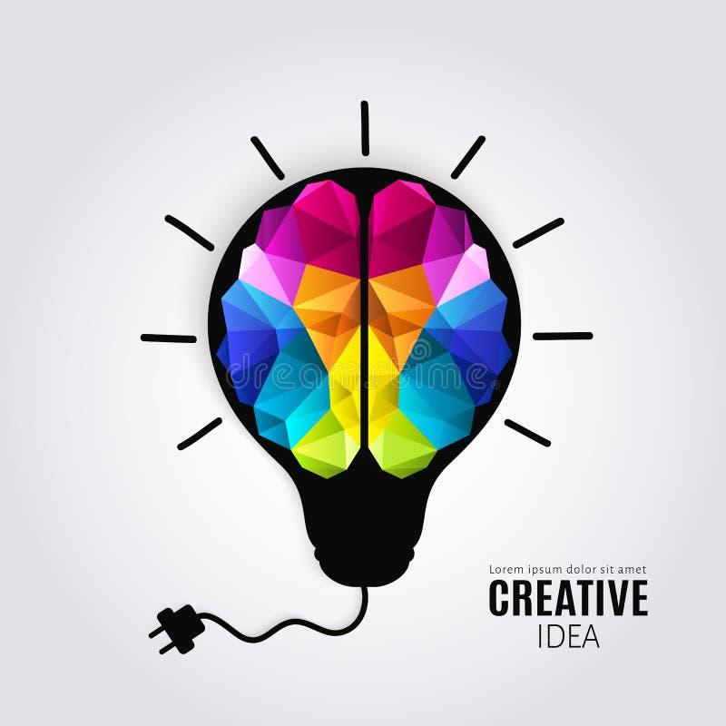 人脑的创造性的概念在电灯泡里面的有被连接的电导线的 多角形样式 库存例证