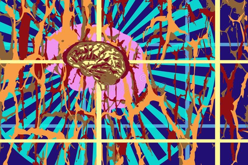 人脑的抽象图象 想法、悟性、辐射在某一框架以色的斑点的形式和线 库存例证