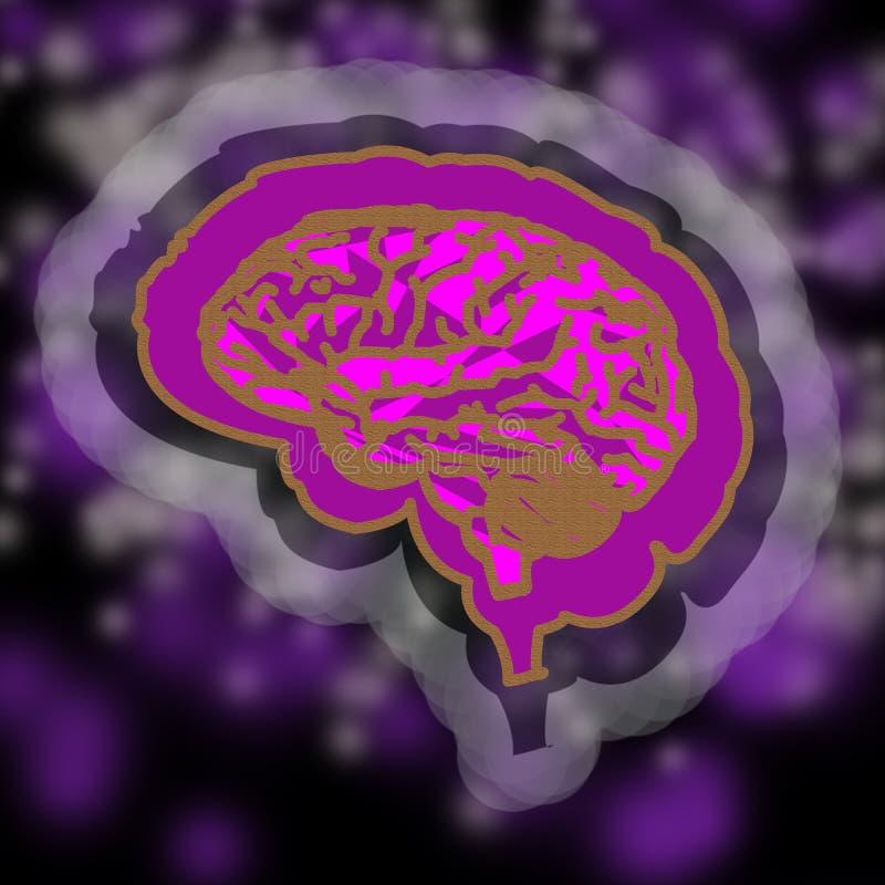 人脑的抽象图象 桃红色,金子,淡紫色,灰色 向量例证