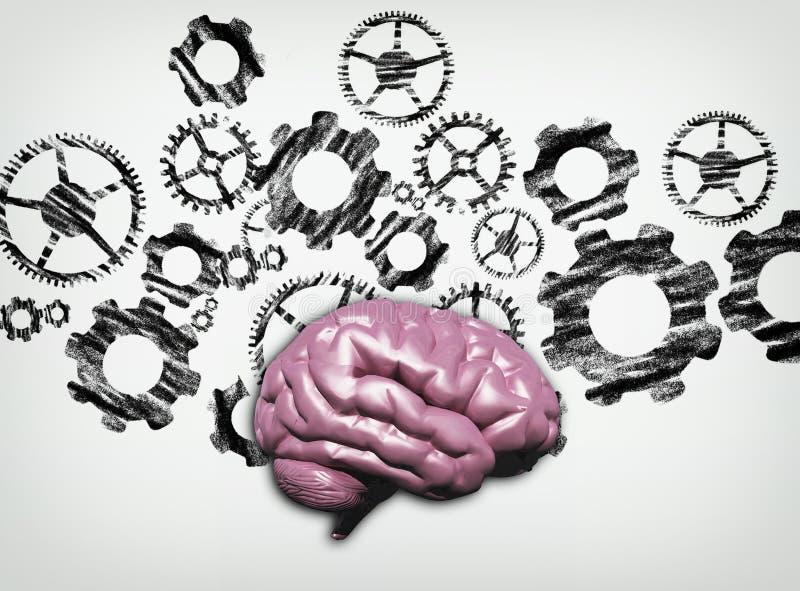 人脑钝齿轮 向量例证