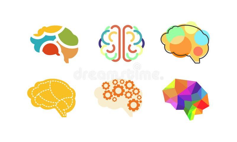 人脑集合,认为或者头脑明亮的标志,五颜六色的创造性的想法标志导航在白色背景的例证 皇族释放例证