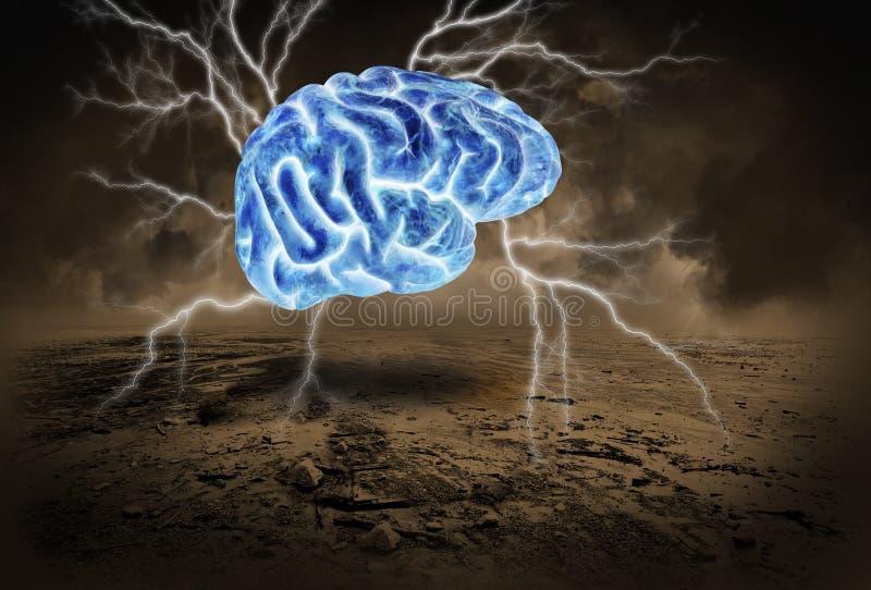 人脑,风暴,突发的灵感,群策群力 免版税库存照片