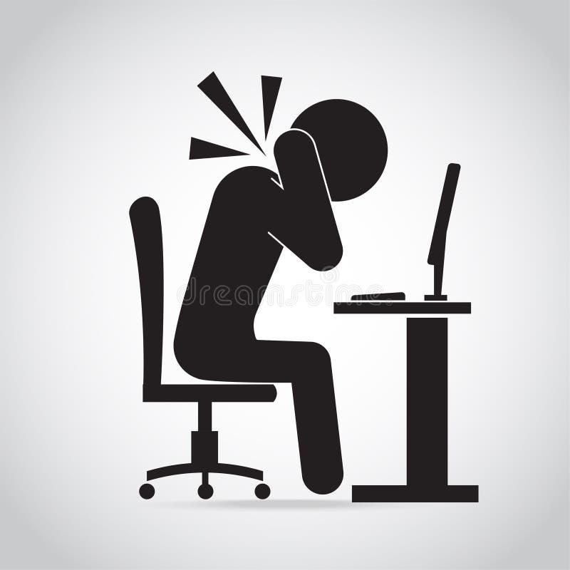 人脖子痛象 办公室综合症状象标志 皇族释放例证