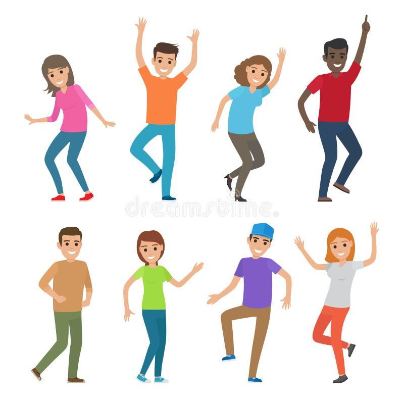 人舞蹈例证 大套字符 向量例证