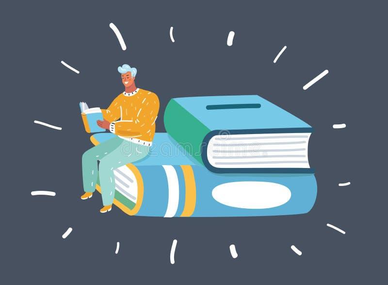 人藏品书读书 向量例证