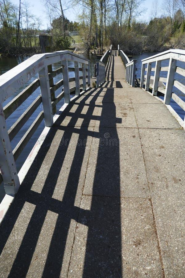 人行桥和木板走道通过沼泽地 免版税库存照片