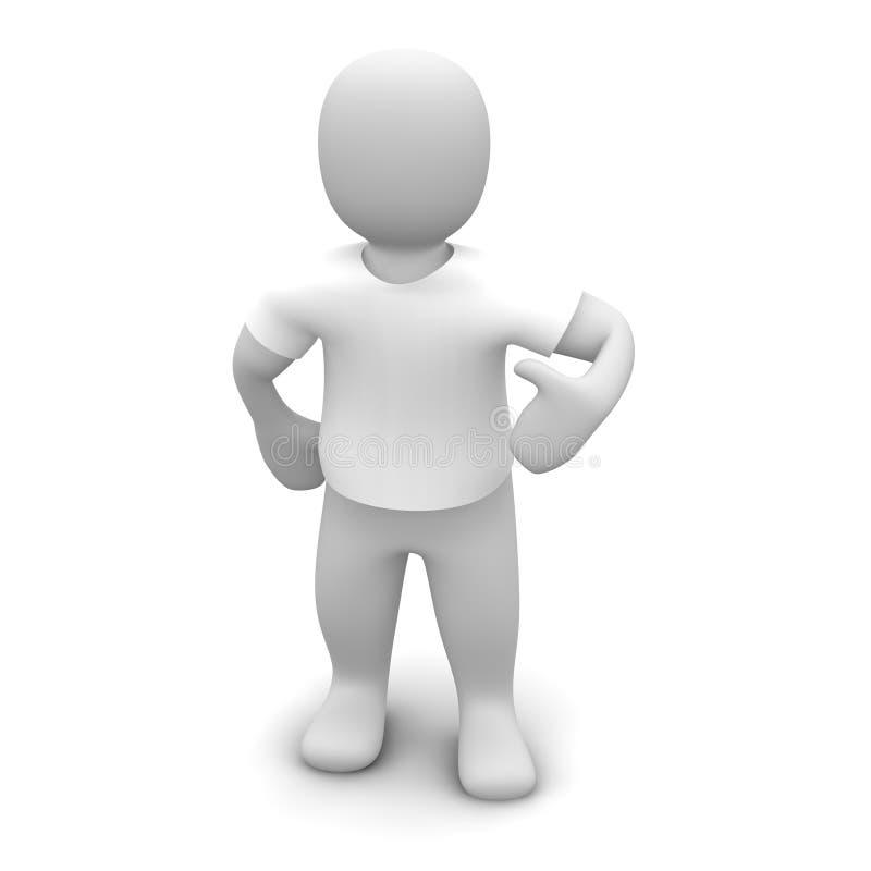 人衬衣t佩带的白色 库存例证