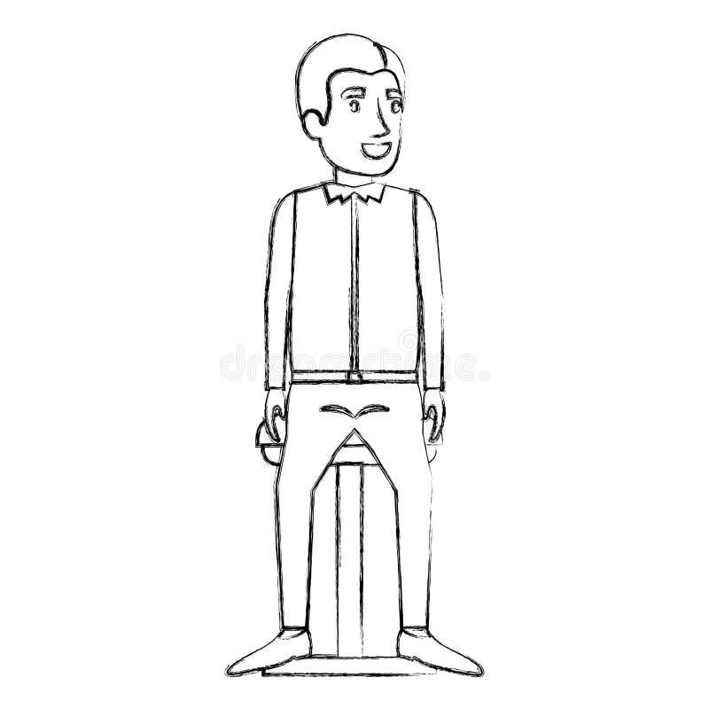 人被弄脏的剪影便服和边的分开了头发和开会在椅子 库存例证