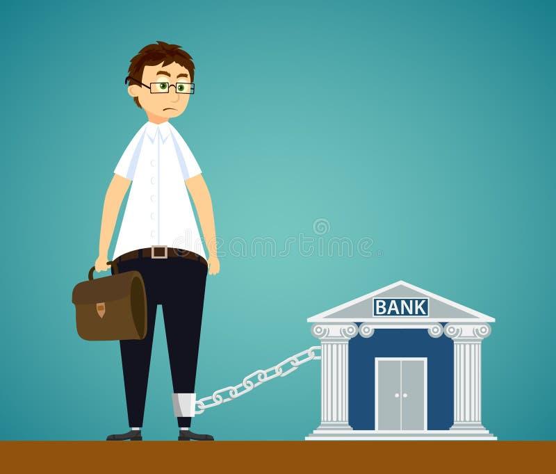 人被束缚对银行 在贷款的债务或者抵押 库存例证