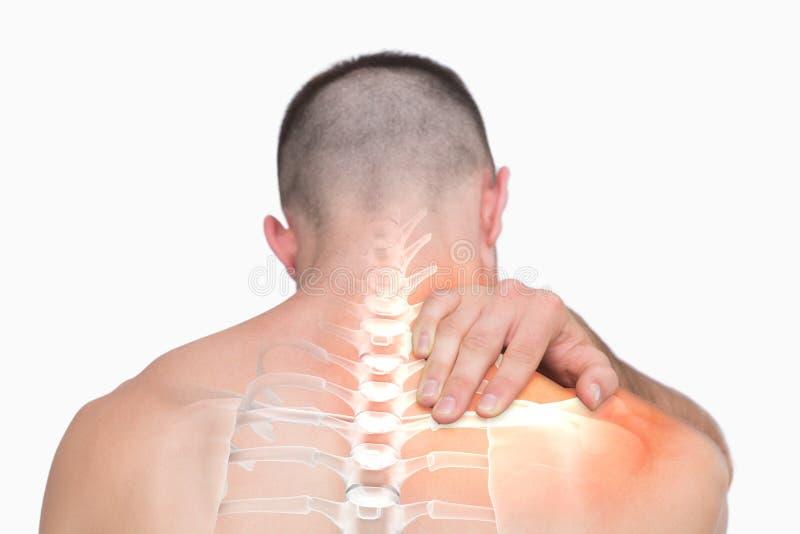 人被突出的肩膀痛苦  免版税库存照片