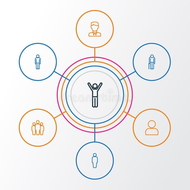 人被设置的概述象 用户、胡须半白的老人、队和其他元素的汇集 并且包括标志例如顾客 库存例证