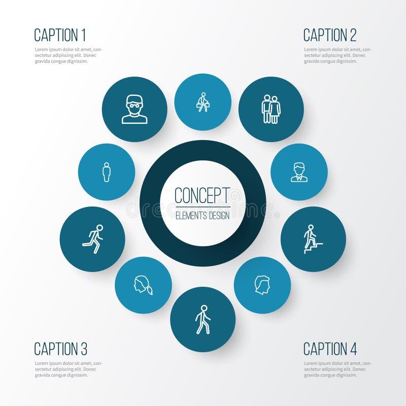 人被设置的概述象 聪明的人、用户、工作者和其他元素的汇集 并且包括标志例如 库存例证