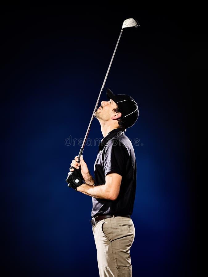 人被隔绝的高尔夫球运动员打高尔夫球 免版税库存图片