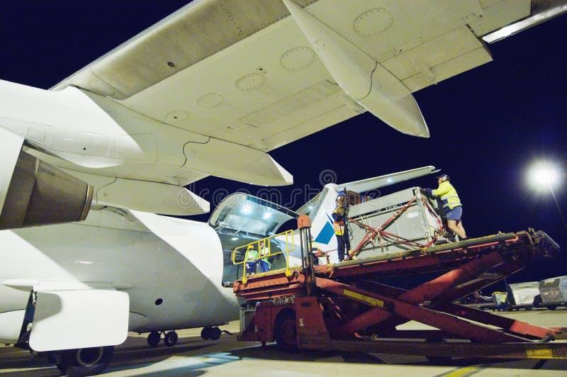 人装载的飞机在机场 库存图片