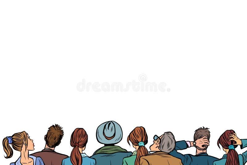 人观众背景演讲后面 库存例证