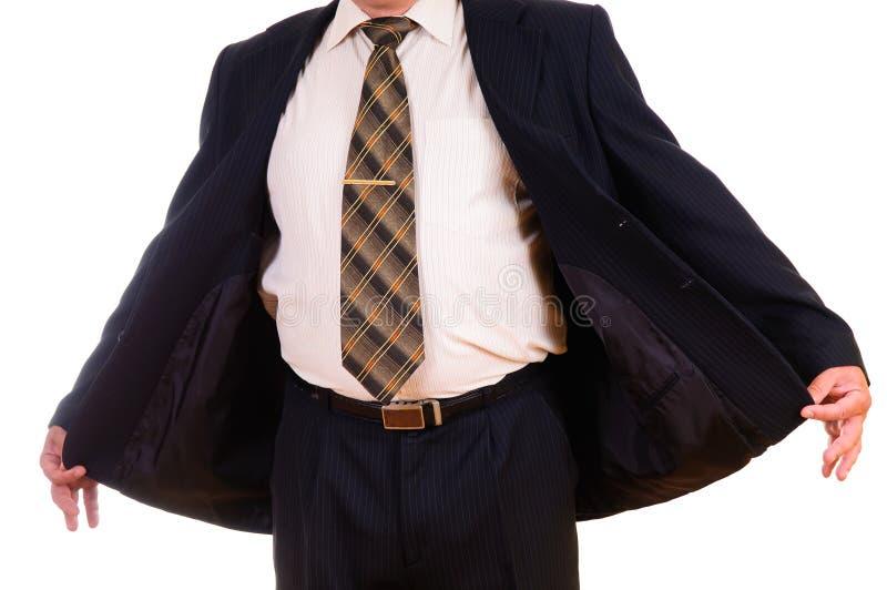 人解他的夹克压缩 免版税库存照片