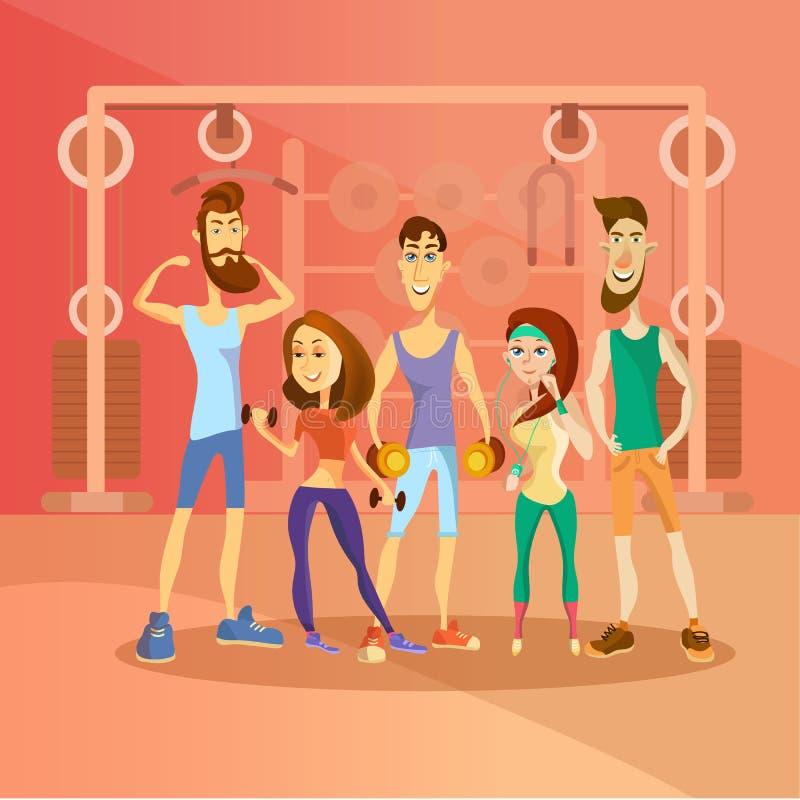 人解决在健身房和打扮在体育衣裳 健身动画片人字符 向量 向量例证