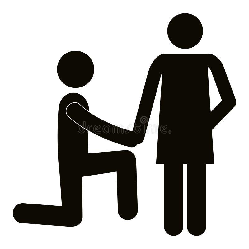 人请求婚姻剪影 皇族释放例证