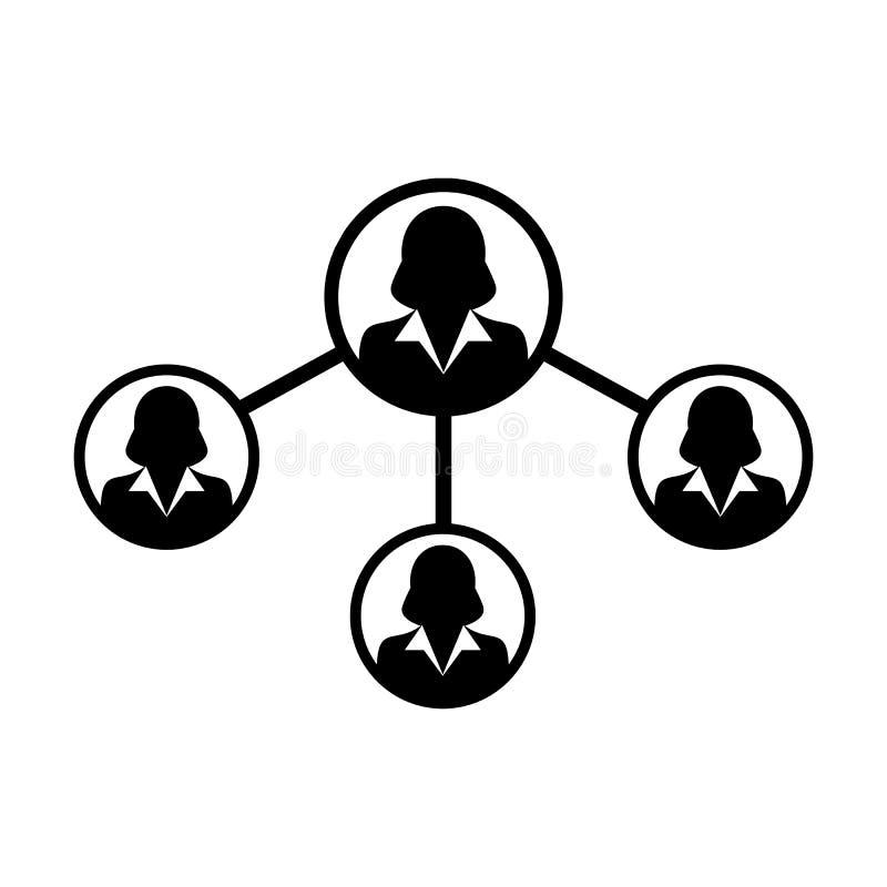 人象传染媒介女性社会网络份额连接纵的沟纹图表例证 库存例证