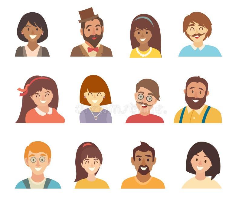 人象传染媒介集合 人象的面孔 人象动画片样式的面孔 男人和妇女字符 向量例证