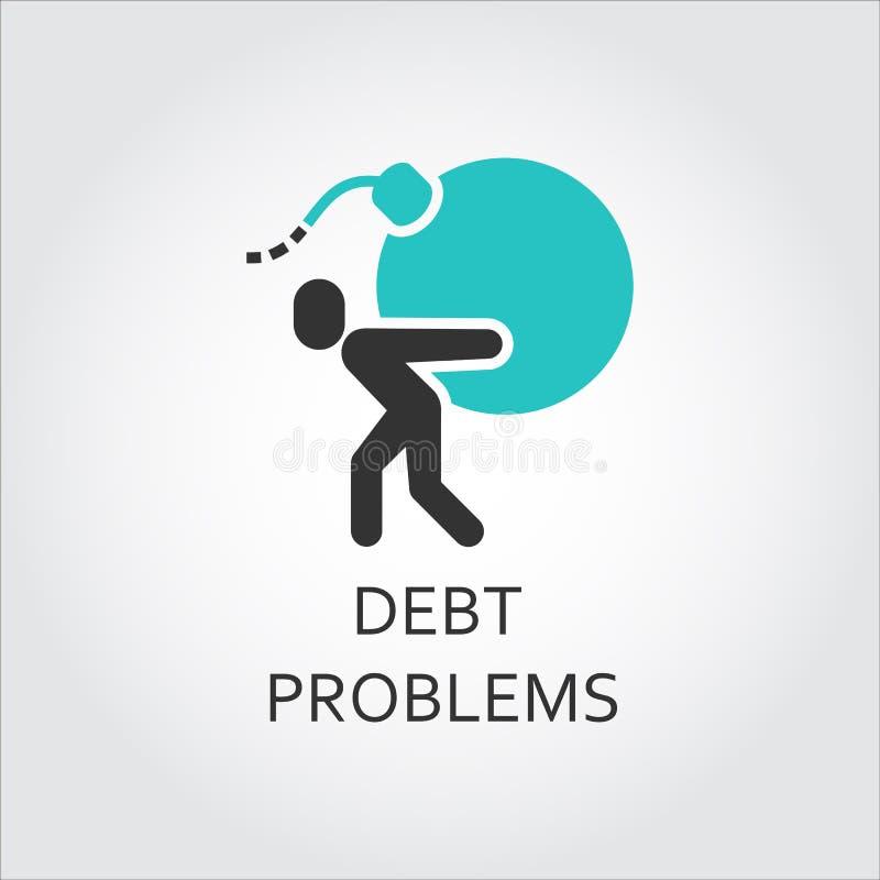 人象携带一颗炸弹,债务问题概念 向量例证