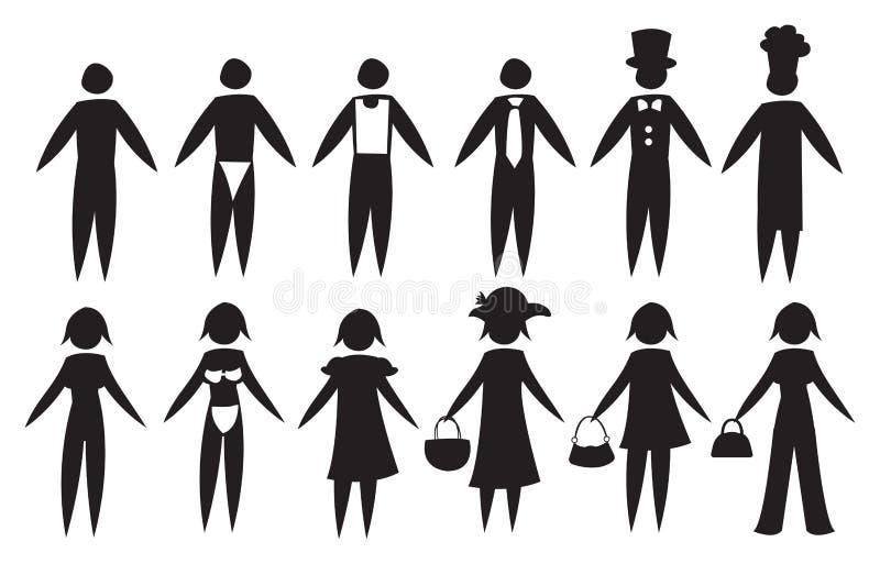 黑人象男人和妇女另外成套装备的 库存例证
