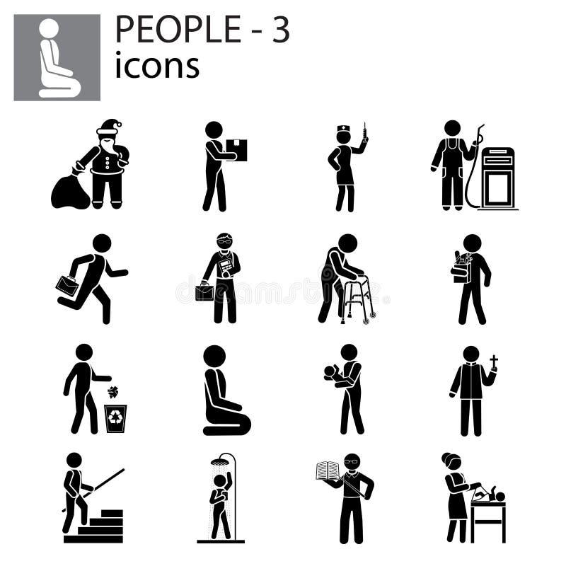 人象设置了行业,行动,姿态 库存例证