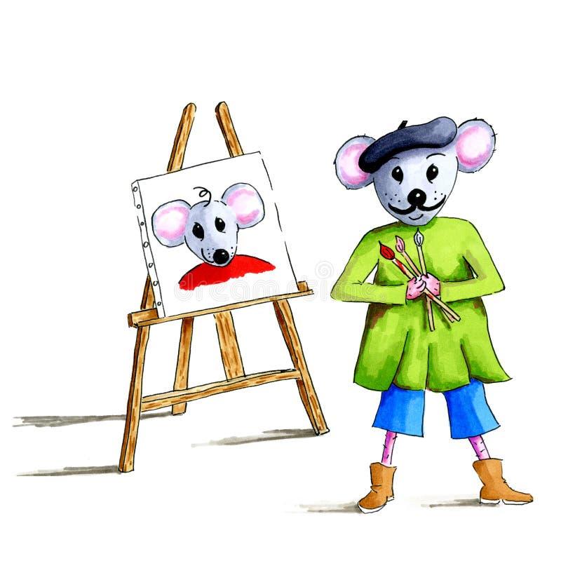 人象画家老鼠 皇族释放例证