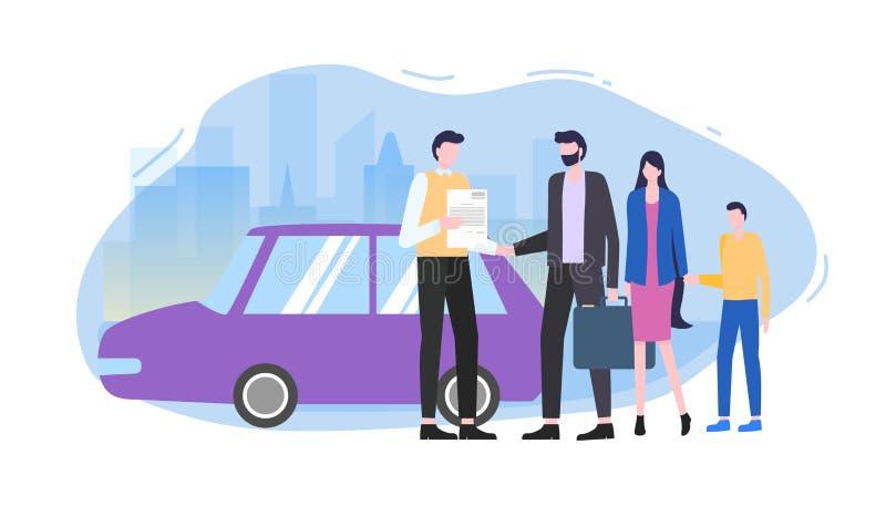 人购买家用汽车汽车卖主做合同 向量例证