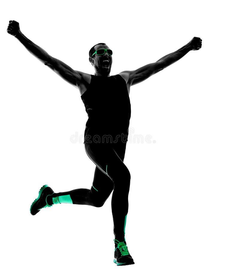 人赛跑者跑的跑步的慢跑者剪影 免版税图库摄影